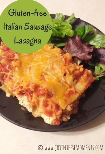 Gluten-free Italian Sausage Lasagna @joyinthesemoments.com